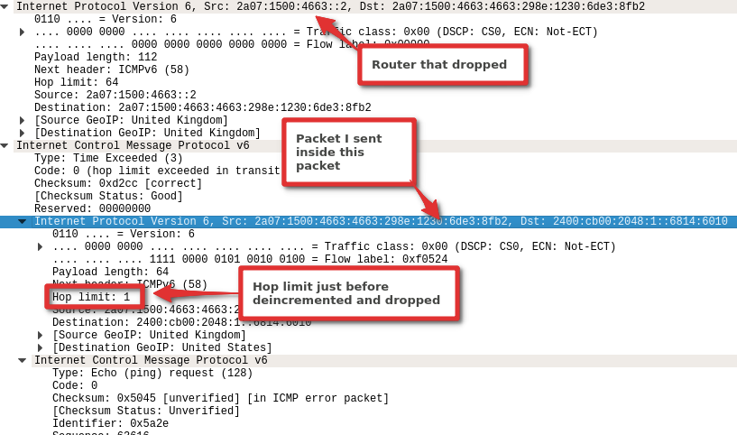 IPv6 ICMP packet in wireshark