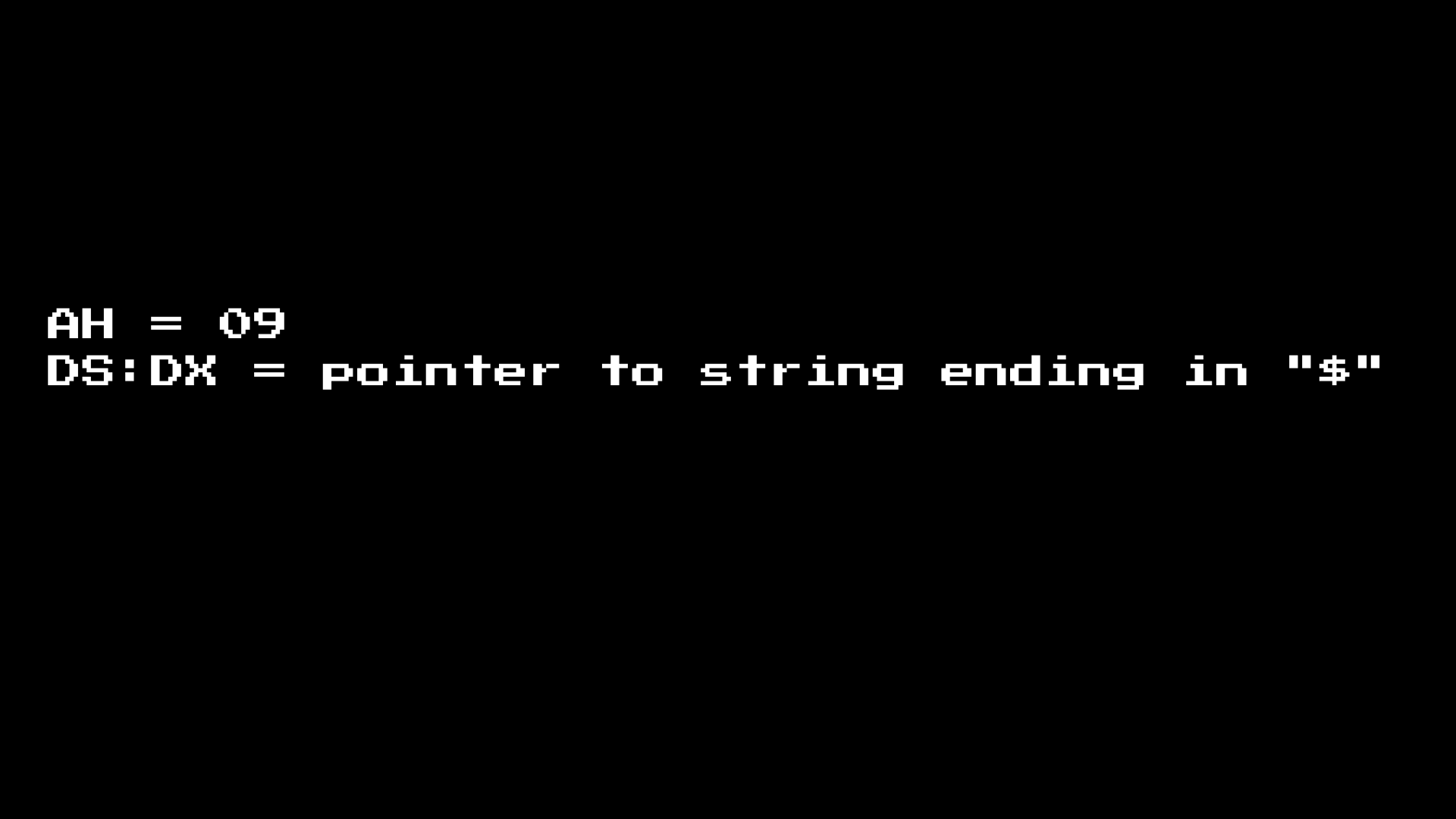 MS-DOS print string docs