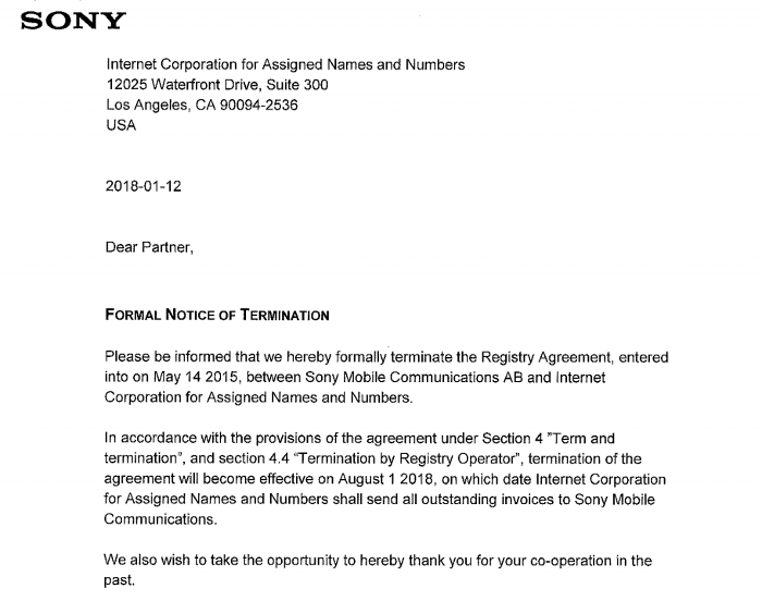 Sony xperia gtld termination letter