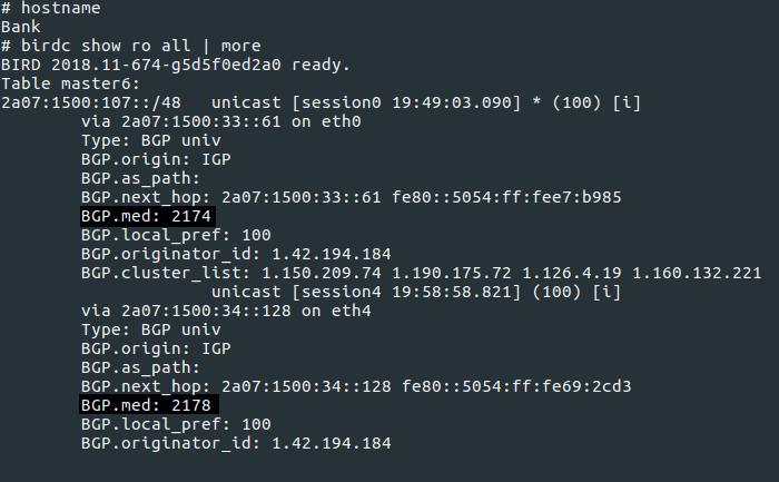 birdc output on TFL BGP, showing MEDs