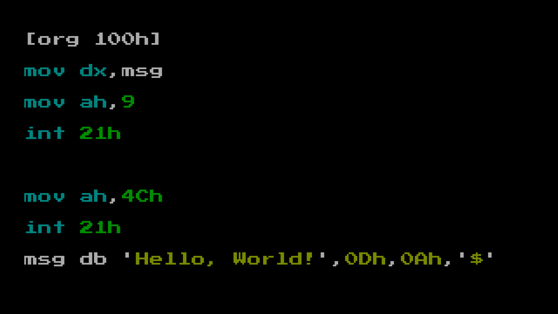 MS-DOS hello world