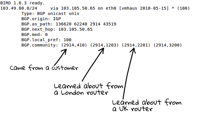 an example route from NTT