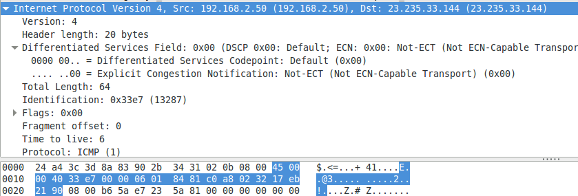 The problem demonstrated in WireShark