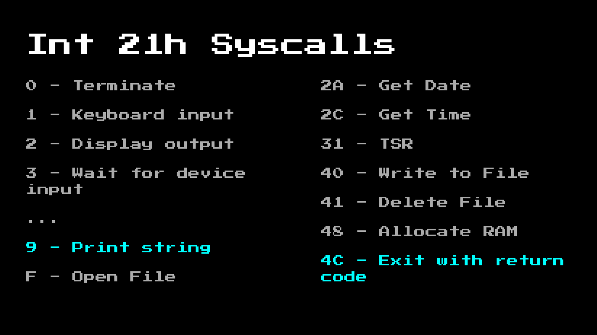 MS-DOS syscall highlighted