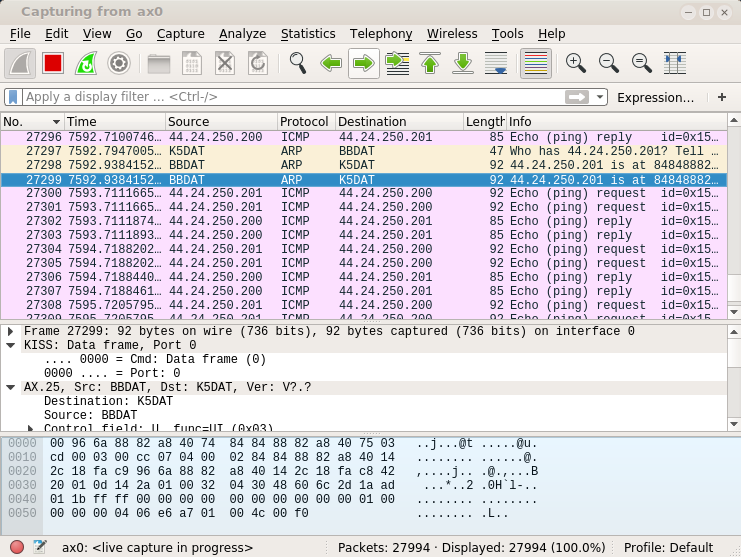 wireshark showing ax.25 traffic