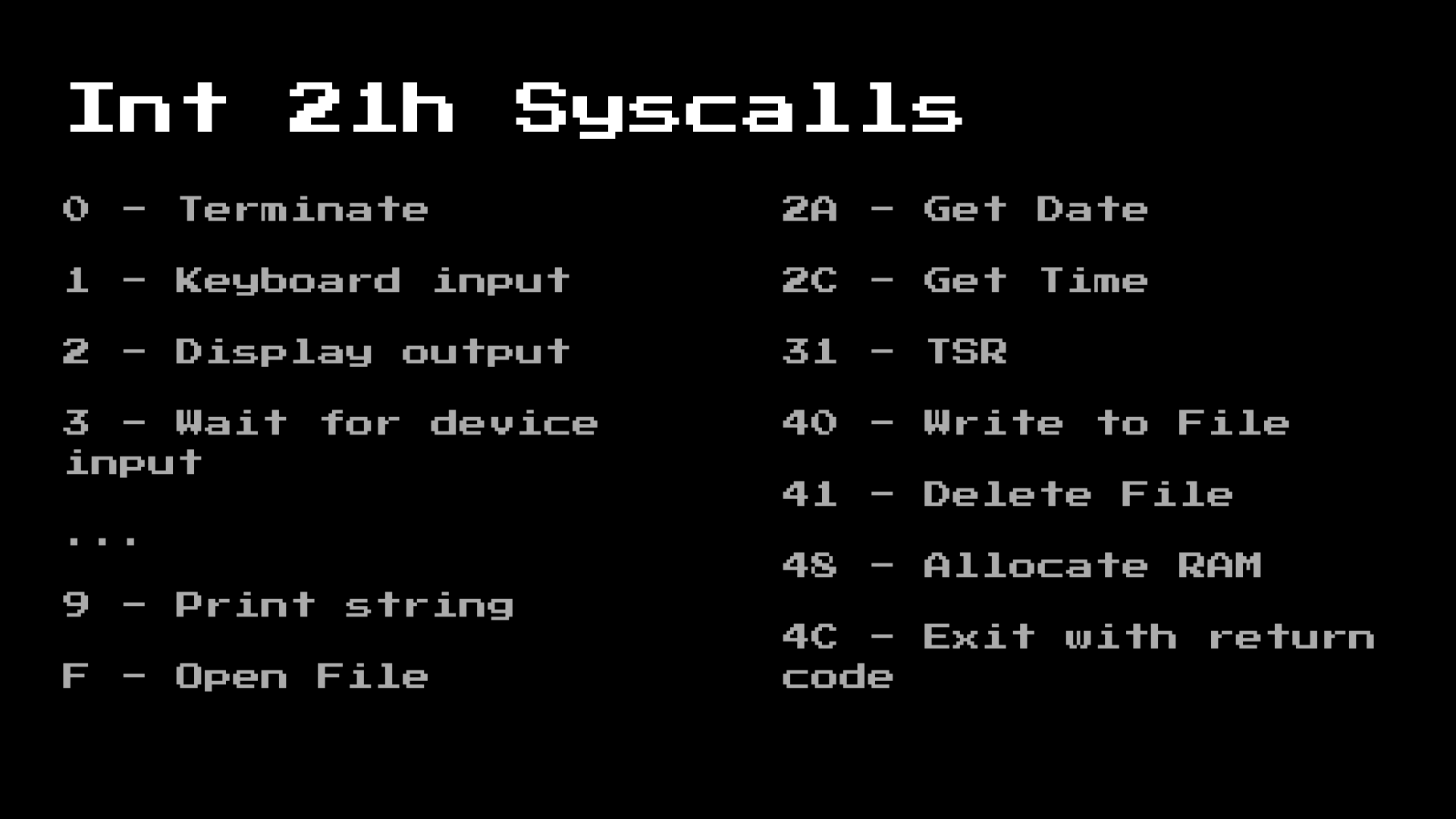 MSDOS syscall small list